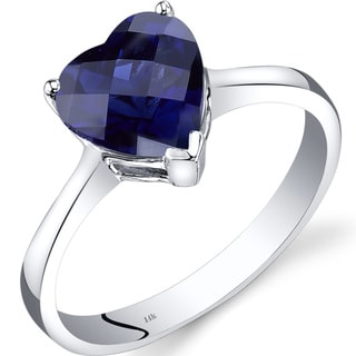 Oravo 14k White Gold 2 1/2ct TGW Created Sapphire Heart Solitaire Ring