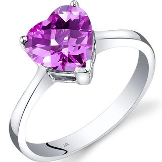 Oravo 14k White Gold 2 1/2ct TGW Created Pink Sapphire Heart Solitaire Ring