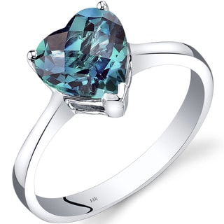 Oravo 14k White Gold 2 1/4ct TGW Created Alexandrite Heart Solitaire Ring