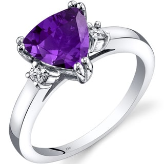 Oravo 14k White Gold 1 1/2ct TGW Amethyst Trillion-cut 1/10ct TDW Diamond Ring