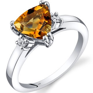 Oravo 14k White Gold 1 1/2ct TGW Citrine Trillion-cut 1/10ct TDW Diamond Ring