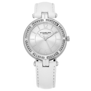 Stuhrling Original Women's Quartz Serena Swarovski Element Crystal White Leather Strap Watch