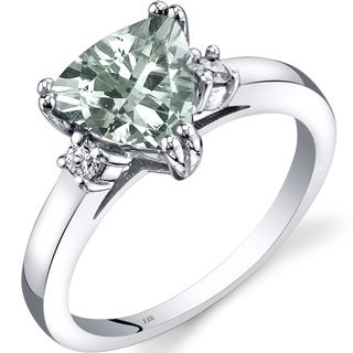 Oravo 14k White Gold 1 1/2ct TGW Green Amethyst Trillion-cut 1/10ct TDW Diamond Ring