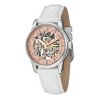 Stuhrling orignal Women's Automatic Skeletion Stella Swarovski crystal White Leather Strap Watch