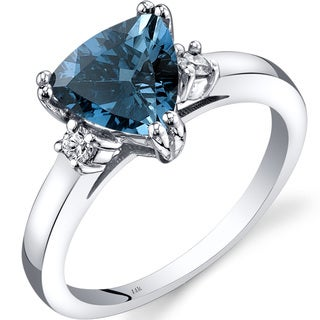 Oravo 14k White Gold 2ct TGW London Blue Topaz Trillion-cut 1/10ct TDW Diamond Ring