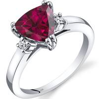 Oravo 14k White Gold 2 1/4ct TGW Created Ruby Trillion-cut 1/10ct TDW Diamond Ring