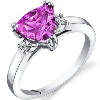 Oravo 14k White Gold 2 1/2ct TGW Created Pink Sapphire Trillion-cut 1/10ct TDW Diamond Ring