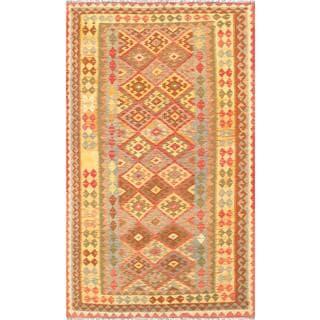 Pasargad Grey/Multicolor Wool Vintage Turkish Kilim Handwoven Rug (4'11 x 8'5)