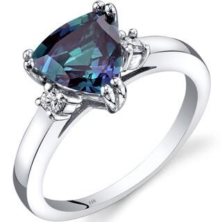 Oravo 14k White Gold 2ct TGW Created Alexandrite Trillion-cut 1/10ct TDW Diamond Ring