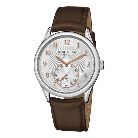 Stuhrling Original Men's Levant Swiss Quartz Automatic Brown Leather Strap Watch