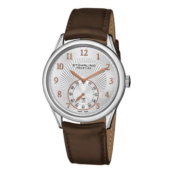 Stuhrling Original Men's Levant Swiss Quartz Automatic Brown Leather Strap Watch. Opens flyout.