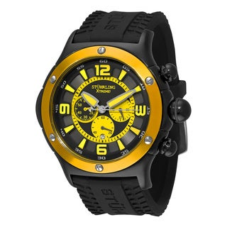 Stuhrling Orignal Men' s Quartz Alpine Chronograph Black Rubber Strap Watch