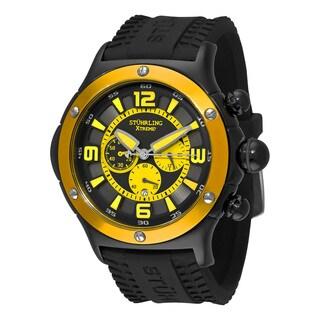 Stuhrling Original Men' s Quartz Alpine Chronograph Black Rubber Strap Watch