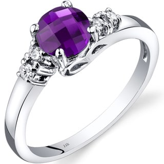 Oravo 14k White Gold 3/4ct TGW Amethyst 1/8ct TDW Diamond Solstice Ring