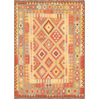 Pasargad Vintage Turkish Kilim Multicolored Hand-woven Wool Rug (4'11 x 6' 9)