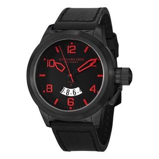 Stuhrling Original Men's Quartz Pilot Black Leather Strap Watch