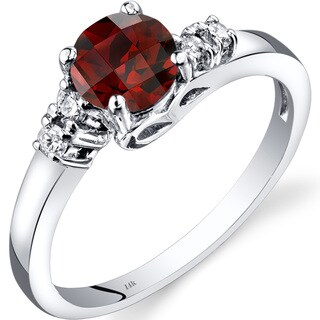 Oravo 14k White Gold 1ct TGW Garnet 1/8ct TDW Diamond Solstice Ring