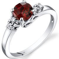 Oravo 14k White Gold 1ct TGW Garnet 1/8ct TDW Diamond Solstice Ring