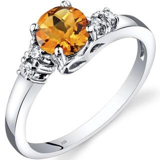 Oravo 14k White Gold 3/4ct TGW Citrine 1/8ct TDW Diamond Solstice Ring
