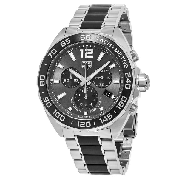 5c46794e09a Shop Tag Heuer Men s  Formula 1  Grey Dial Stainless Steel ...