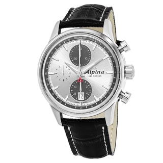 Alpina Men's AL-750SG4E6 'Alpiner' Silver Dial Black Leather Strap Chronograph Swiss Automatic Watch