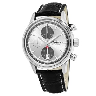 Alpina Men's 'Alpiner' Silver Dial Black Leather Strap Chronograph Swiss Automatic Watch
