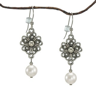 Handmade Jewelry by Dawn White Crystal Pearl Pewter Flower Earrings (USA)