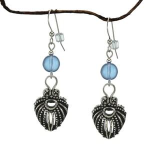 Jewelry by Dawn Light Sapphire Blue Antique Pewter Puffed Teardrop Earrings
