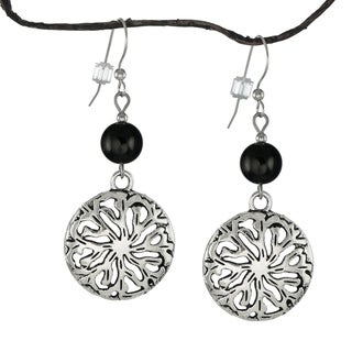 Jewelry by Dawn Black Glass Pewter Medallion Earrings