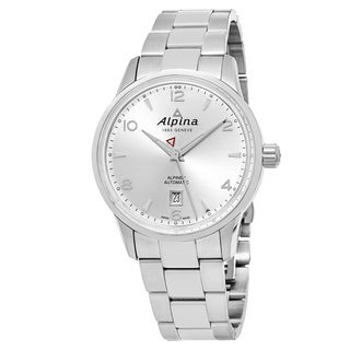 Alpina Men's AL-525S4E6B 'Alpiner' Silver Dial Stainless Steel Swiss Automatic Watch