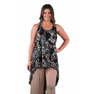 24/7 Comfort Apparel Women's Plus Size Floral/Spotted Printed Racerback Tunic