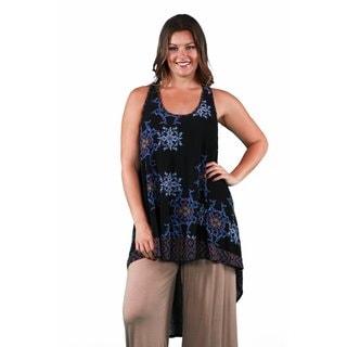 24/7 Comfort Apparel Women's Plus Size Abstract Dual-Print Racerback Tunic