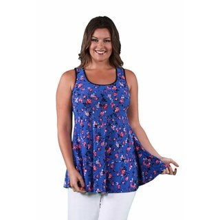 24/7 Comfort Apparel Women's Plus Size Blue-Pink Rose Tank Top