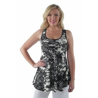 24/7 Comfort Apparel women's Abstract Floral Tank Plus Size Top
