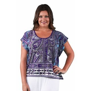 24/7 Comfort Apparel Women's Plus Size Purple Paisley Oversized Tee