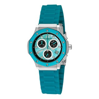 Stuhrling Orignal Women's Quartz Cosmo Girl Swarovski Crystal Elements Chronograph Blue Rubber Strap Watch