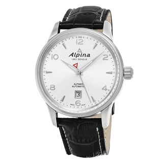 Alpina Men's AL-525S4E6 'Alpiner' Silver Dial Grey Leather Strap Swiss Automatic Watch