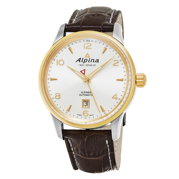 Alpina Men's 'Alpiner' Silver Dial Brown Leather Strap Swiss Automatic Watch