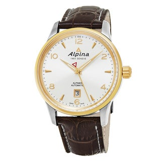 Alpina Men's AL-525S4E3 'Alpiner' Silver Dial Brown Leather Strap Swiss Automatic Watch