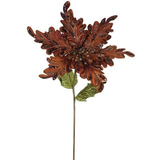 Chocolate 15-inch Poinsettia with 15-inch Flower (Pack of 3)