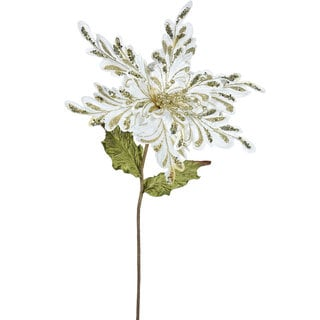 Vickerman Cream 15-inch Faux Poinsettia With 15-inch Flower (Pack of 3)