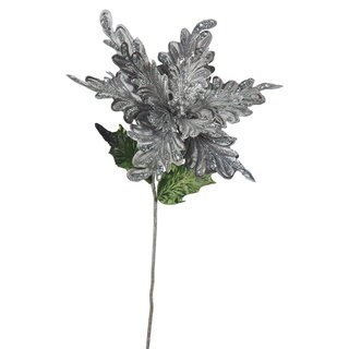 Vickerman Pewter 15-inch Poinsetta with Flower (Pack of 3)