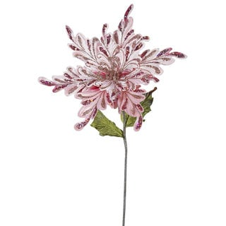 15-inch Pink Poinsettia with 15-inch Flower (Pack of 3)