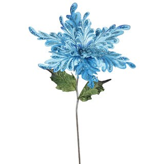 Vickerman 15-inch Sky Blue Poinsettia with 15-inch Flower (Pack of 3)