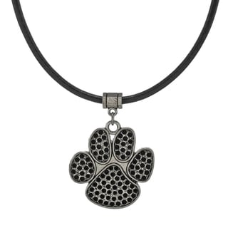 Jewelry by Dawn Unisex Antique Pewter Paw Print Greek Leather Cord Necklace