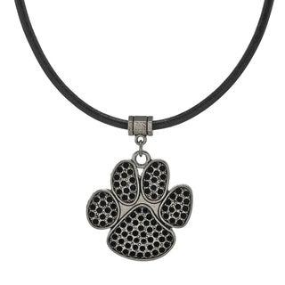 Jewelry by Dawn Unisex Antique Pewter Paw Print Greek Leather Cord Necklace - Black