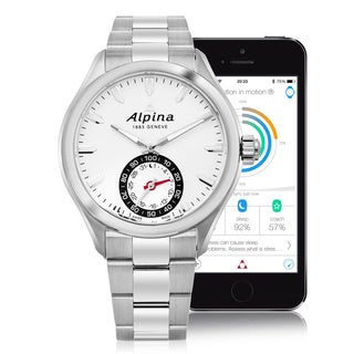 Alpina Men's AL-285S5AQ6B 'Smart Watch' Silver Dial Stainless Steel Multifunction Motionx® Swiss Quartz Watch