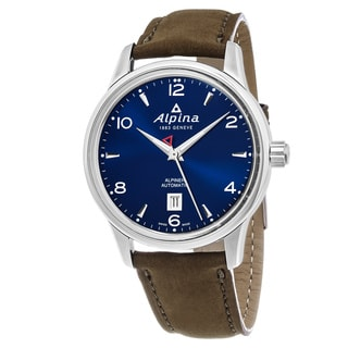 Alpina Men's AL-525N4E6 'Alpiner' Blue Dial Brown Leather Strap Swiss Automatic Watch