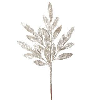 Vickerman 22-inch Champagne Plastic Glitter Bay Leaf Spray (Pack of 12)