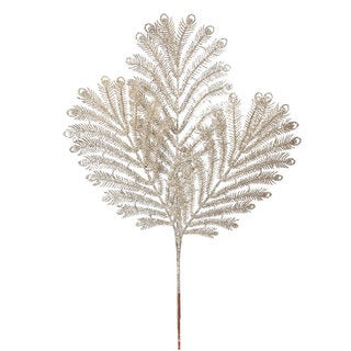 Vickerman 22-inch Champagne Glitter Peacock Tail Spray (Pack of 12)